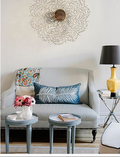 pretty: Decor, Idea, Living Rooms, Feathers Pillows, Interiors, Apartment, Small Spaces, Stripes, Yellow Lamps