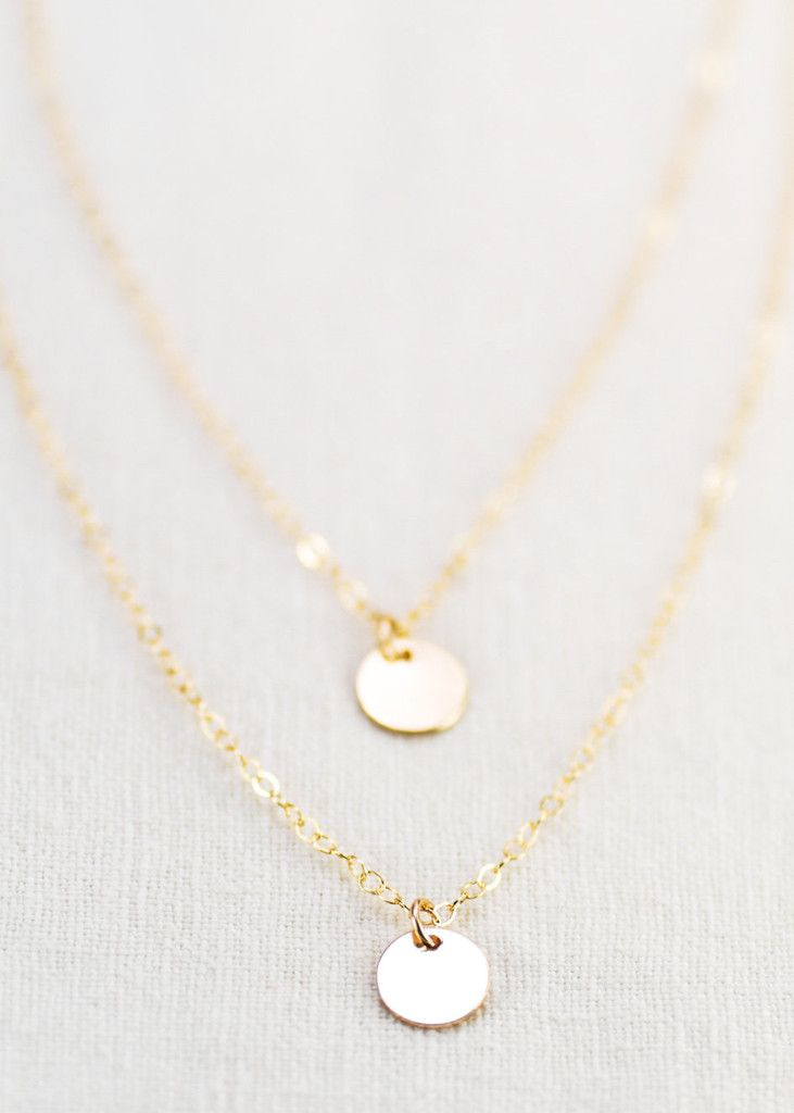 double layered 14k gold filled disc necklace, delicate gold necklace – Ke Aloha Jewelry