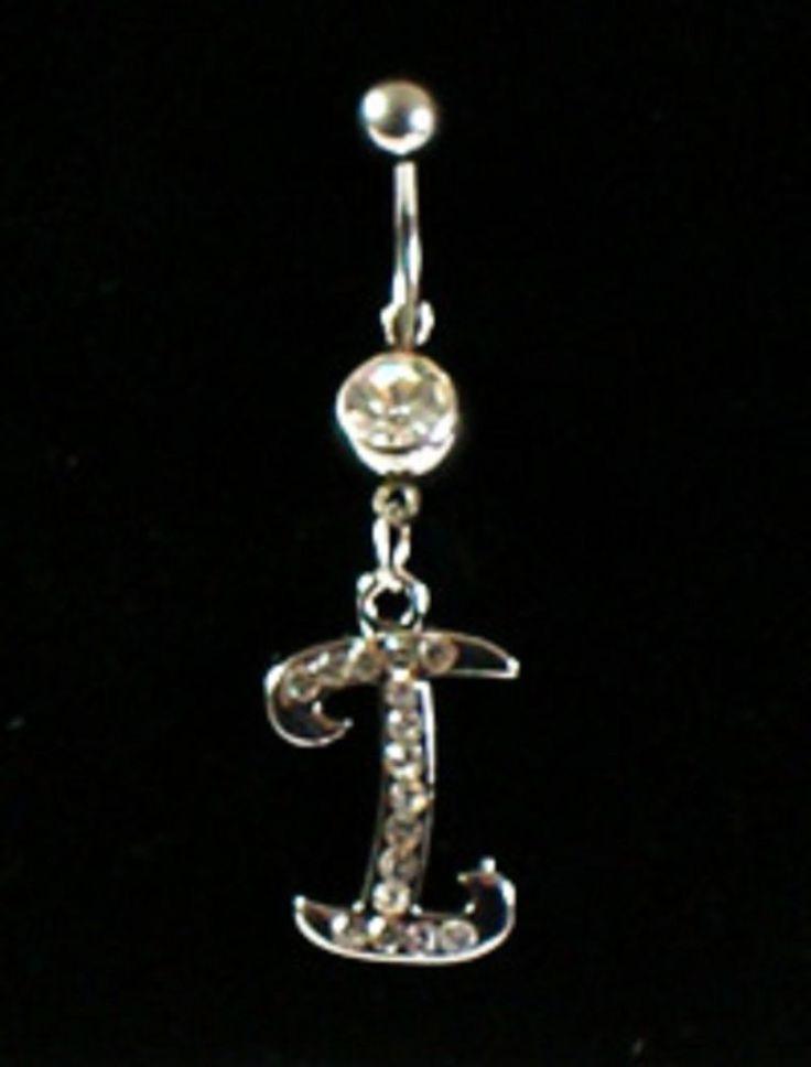 PIERCING percing nombril Acier316L métal argenté lettre i strass diamant cristal