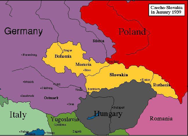 Czechoslovakia Map during WW2 World Map Pinterest