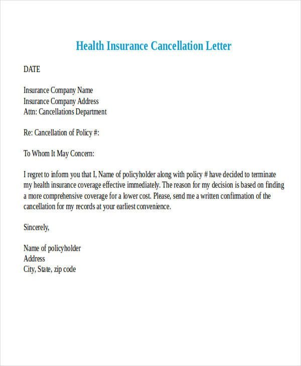 sample cancellation letter for medical insurance termination anniversary and quot loi chatel cancellations