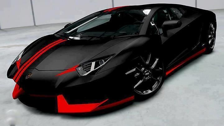 Black & Red Lamborgini Aventador