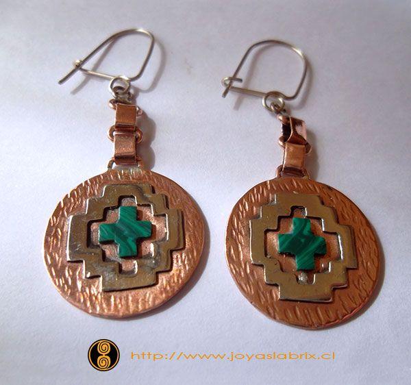 Aros de cobre alpaca y resina... ver más detalles en http://www.joyaslabrix.cl/index.php?modulo=10&Codigo=71