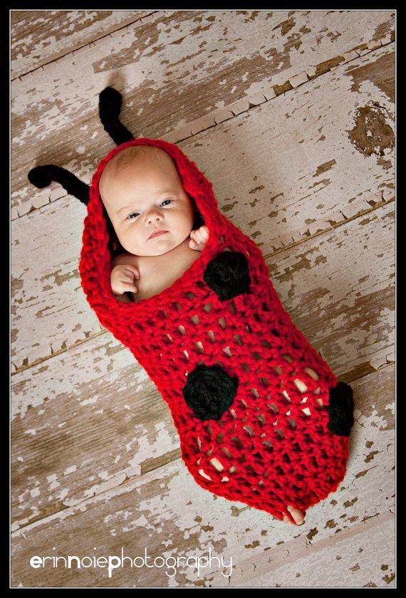 Baby Crochet Lady Bug Cocoon Ladybug by TreasuredCreation on Etsy