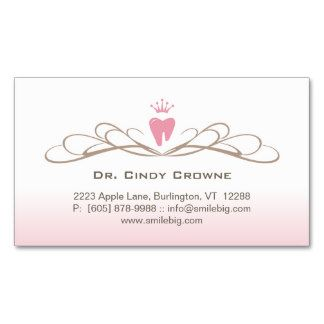 Dental Business Card Swirl Tooth Logo Pink Brown