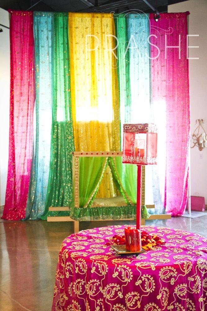 Beautiful decor with dupattas  Sangeet and mehendi in