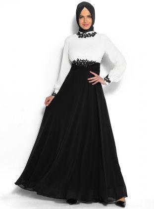 Güpür Süslemeli Abiye Elbise - Ekru - Siyah - Modaysa