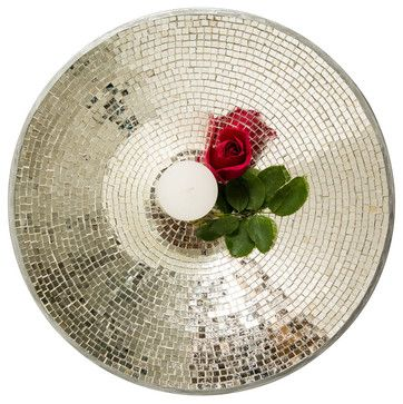 Silver Mosaic Tiled Platter - eclectic - accessories and decor - VintageMaya