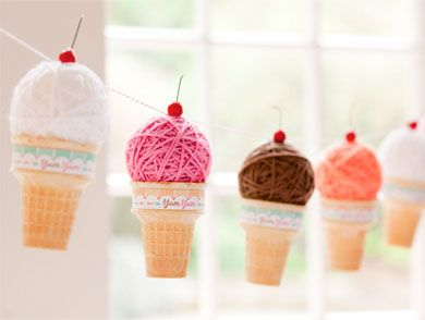 Yarn Ball Ice Cream Cone Garland! Perfect little detail for an ice cream social #stylishkidsparties