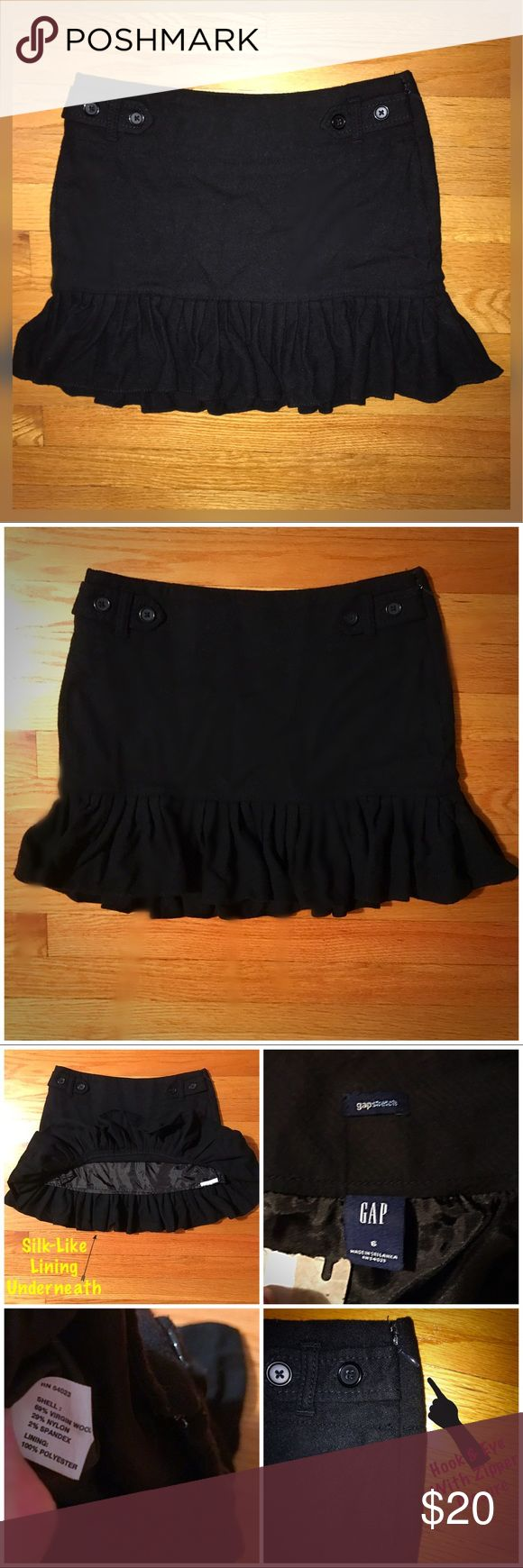 GAP Stretch Wool Black Ruffle Pleated Skirt Fit, 6 Gap stretch Wool Skirt. Fit &Flare style w/ Pleated Ruffle bottom. Size: 6. Condition: worn once, washed, taken out a month later, tried on, washed again, then shoved in my drawer (hence the wrinkles) and that has where its stayed for months. Too small. Silver Hook & eye with zipper side closure. Each side of front has a strap going through a belt loop w/ 2large buttons for detail. Skirt shell made of: 69% Virgin Wool, 29% Nylon and 2%…