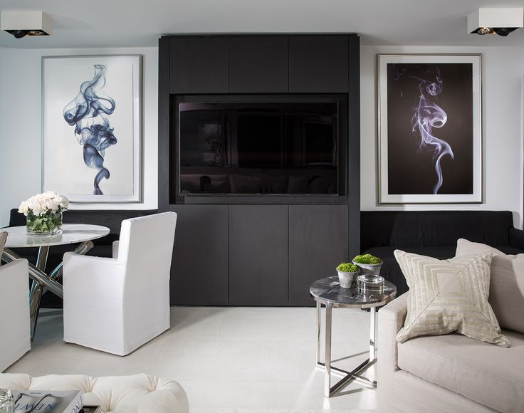 No Space Is Complete Without Unique Artwork And This Living Room Exception Two Modern Pieces Frame The Familys Television Adding Personality To