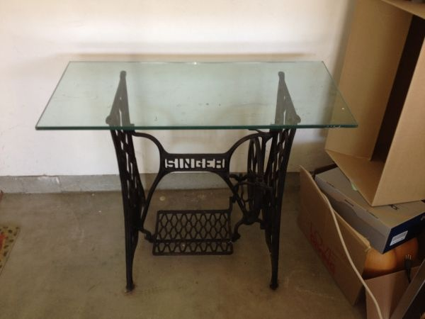 singer sewing machine table with glass top