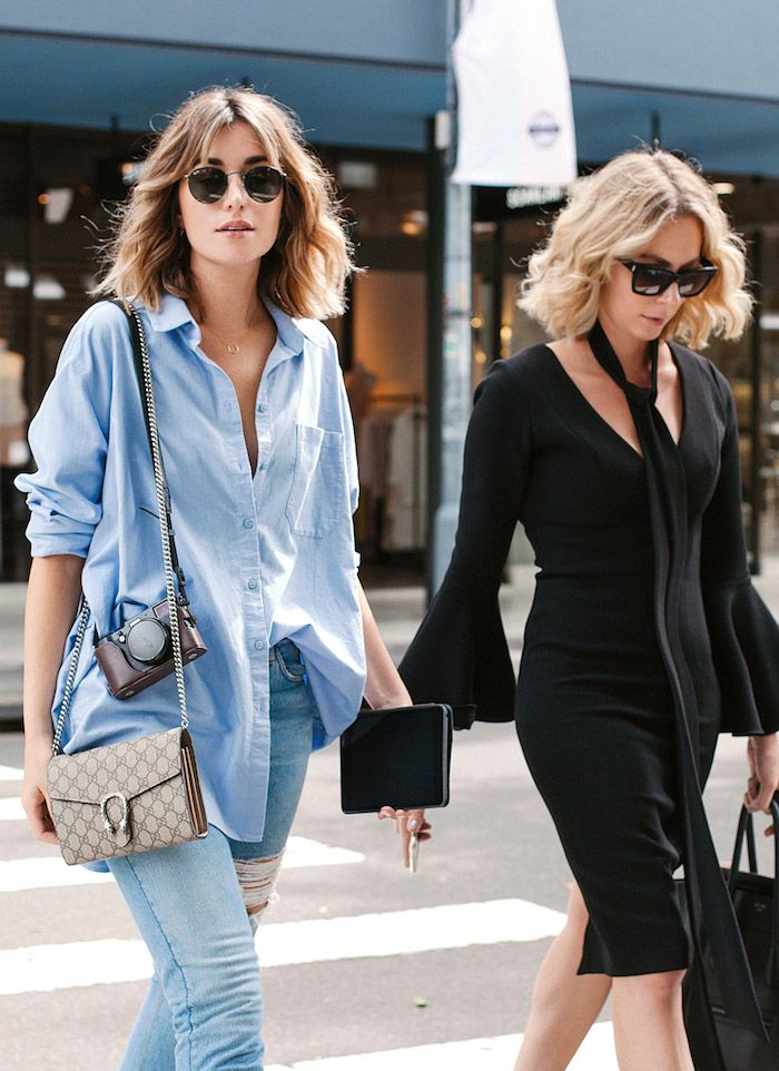 Love the blue shade of this oversized boyfriend shirt, looks great with the faded distressed jeans … a classically casual look | photos Nicole Cooper of Carmen & Breanna @ The Chronicles Of Her ~ x de
