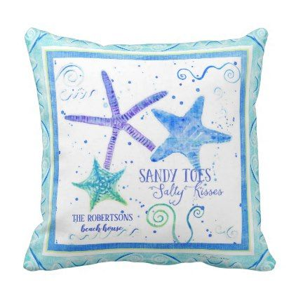 Sandy toes Salty Kisses Starfish Beach Ocean Sea Throw Pillow - pattern sample design template diy cyo customize