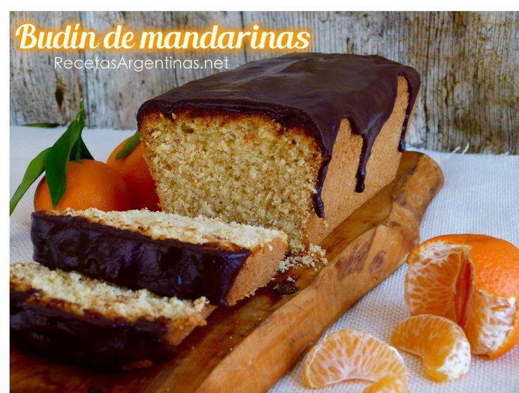 Tierno budín de mandarinas con glaseado de ganache de chocolate