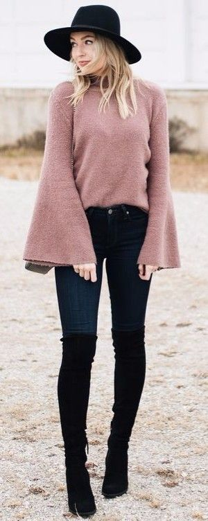 cashmere bell sleeves sweater + hat