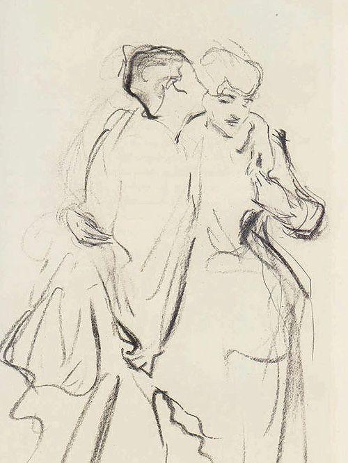John Singer Sargent ~ Whispers (study), 1884 (charcoal, graphite)