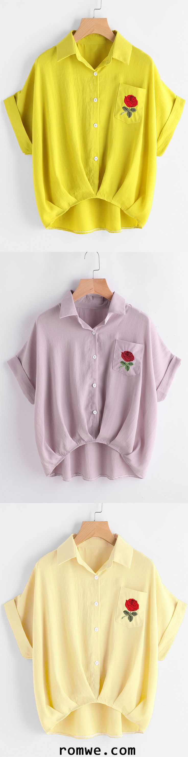 Floral Embroidered High Low Cuffed Shirt With Chest Pocket