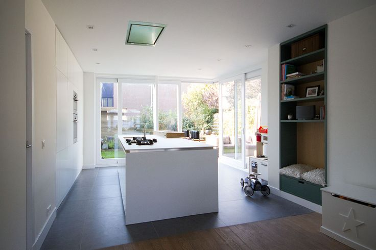 Kitchen. Project info: Two storey extension to an unusual 1930s townhouse in Utrecht. See also  http://www.foamarchitecten.nl/werk/53/woning-tuindorp