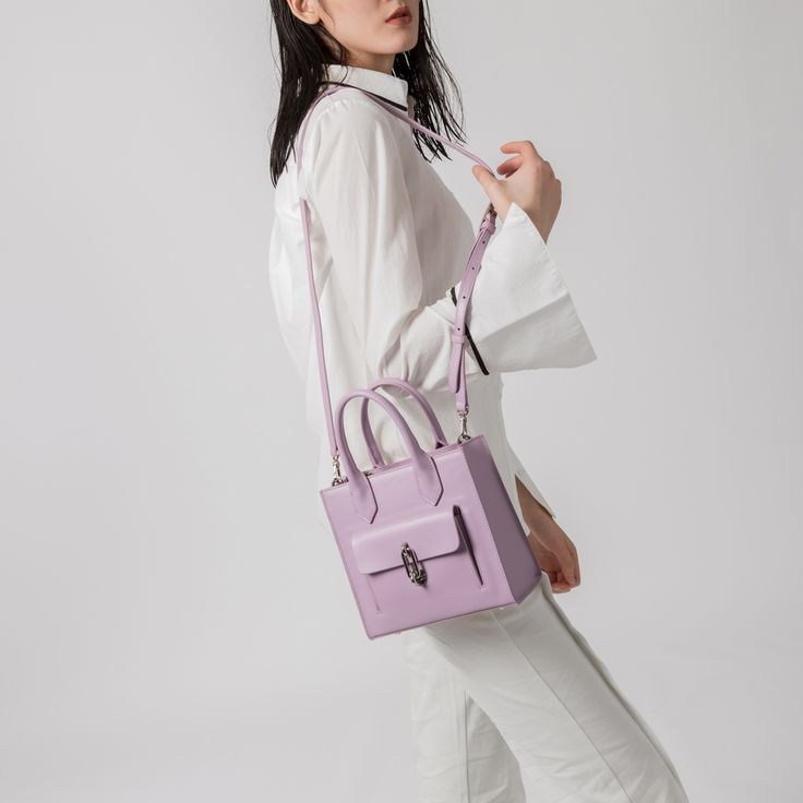 Purple Leather Square Shoulder Bag via Women's Fashion Bags. Click on the image to see more!