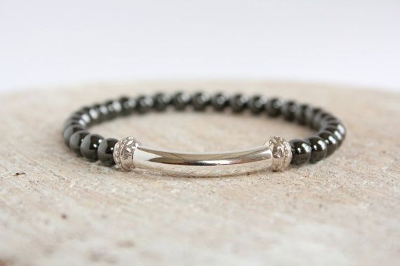 Hematite Stretch Beaded Bracelet Men Urban Bohemian Jewelry Gemstone on Etsy, £11.20