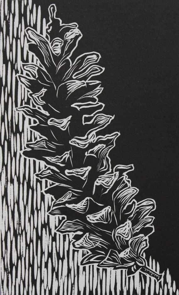 Pinecone Relief Print 7.5x12 by laurensmucker on Etsy, $15.00