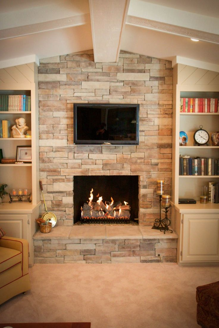 Inspiring Ledge Stone Fireplace Extraordinary Ledge Stone Glass Window Fireplace With Lcd Tv