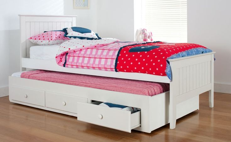Alaska Bedroom Furniture - Hardwood Kids Bed Set The 'Alaska' kids trundle bed set is made from a strong combination of hardwood and medium density fibreboard and is a fantastic example of high quality white   furniture that will make your children will feel cosy when they climb in under   their warm, winter bedding. The 'Alaska' children's furniture is available in a choice of single or king single trundle bed set. The Forty Winks 'Alaska' kids bed comes with:   a brilliant...