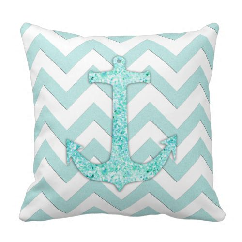 A trendy aqua glitter boat anchor design pillow with mint and white chevron zigzag stripes. Perfect for the teen girl. http://www.zazzle.com/aqua_glitter_nautical_anchor_teal_chevron_pattern_pillows-189022520686826152?design.areas=%5Bmojo_pillow_16x16_front%2Cmojo_pillow_16x16_back%5D&rf=238835258815790439&tc=OSGPinD