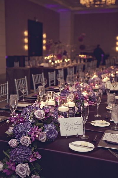 platinum and plum wedding | Plum Floral Runner | Centerpieces - Low  Simply Elegant