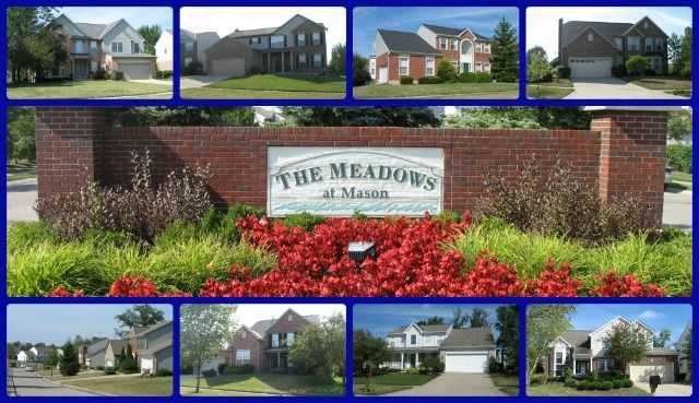 The Meadows at Mason community of Mason Ohio 45040.  Pool community.  Deerfield Township so save the city tax but still have Mason Schools!  Quick selling community, with almost 10% resales in the last year, and most sold in 90 days or less.  Click through for more information and to search The Meadows at Mason homes for sale.