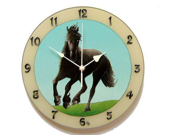 Black Horse Wall Clock, Silent, Unique, Hand-painted  Glass wall clock, Animal home decor