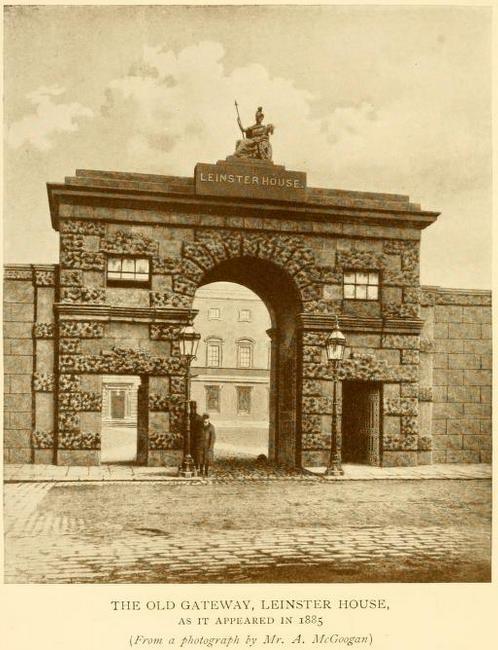 The entrance to Leinster House in 1885, then home to the Royal Dublin Society, now the Irish Houses of Parliament / Oireachtas Éireann.