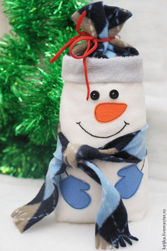 """Мастер-класс: """"Новогодний снеговик-мешочек для сладостей"""" - Ярмарка Мастеров - ручная работа, handmade"""
