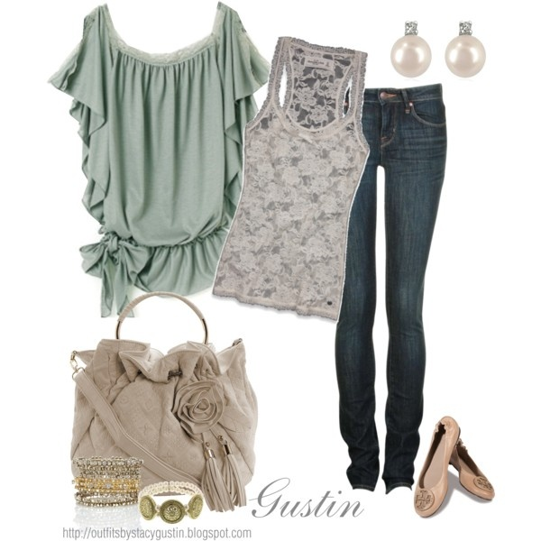 vintage style: Skinny Jeans, Shirts, Green, Soft Color, Soft Hue, Date Outfit, Fall Fashion, Lace Tanks, Vintage Style