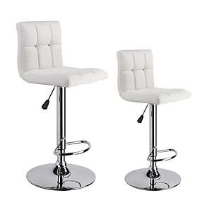 Set of 2 Red Faux-Leather Padded Bar Stools Height Adjustable White