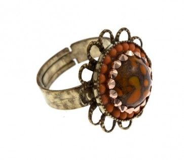 Bronze plated ring with Swarovski strasses, by Art Wear Dimitriadis -Handmade-