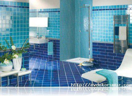 Güzel mavi banyo modeli