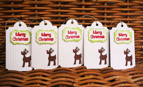 This listing is for five (5) handmade Christmas gift tags.  Tags are die-cut from a white ribbed cardstock. Back site is blank to write a personal