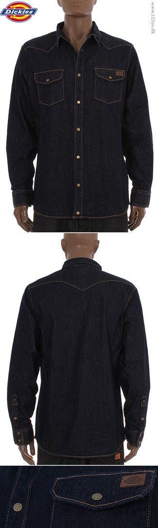 DICKIES Langærmet denim-skjorte