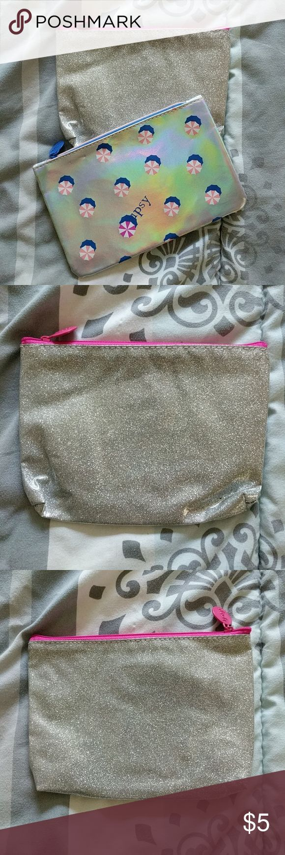 Ipsy Cosmetic Bag Set (2) / Silver These bags are in used condition.  ALL listings are priced at $5 (final), so no offers will be considered. However, I do provide a discount for bundles of 4+!   NOTICE: If you create a bundle and it weighs more than 5 LBS, I will cancel the order. I can not pay for the added shipping cost. Please keep this in mind.   My home is a SMOKE FREE / KITTY FRIENDLY home. Thank you!! :) Ipsy Bags Cosmetic Bags & Cases