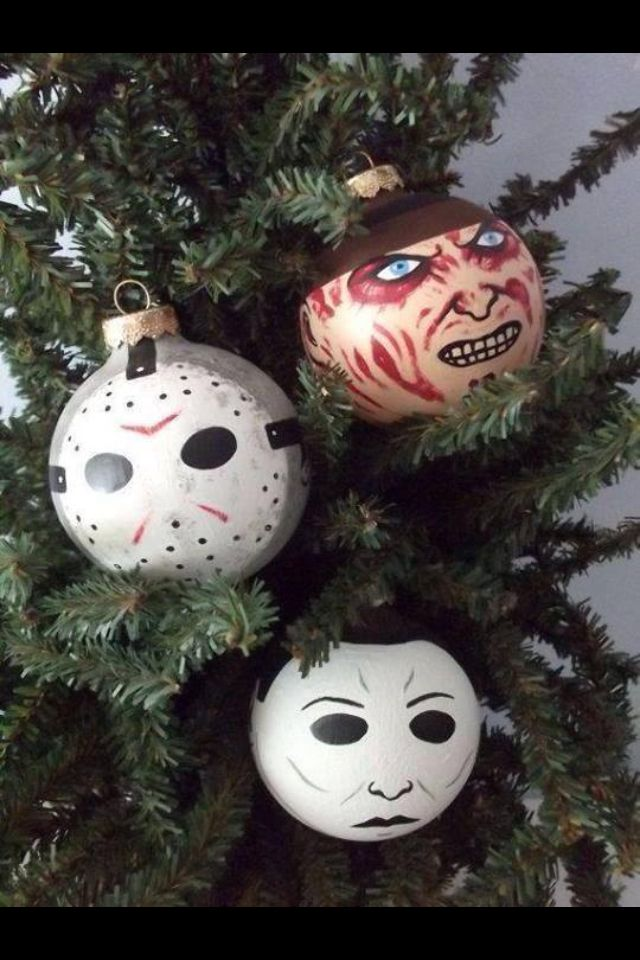 if i did a halloween tree horror characters made as hand painted holiday ornaments at the ginger pots store on etsy freddy krueger jason and michael - Halloween Christmas Ornaments