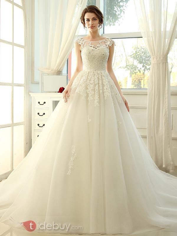 ロングA-ラインスクープネックレースウエディングドレス
