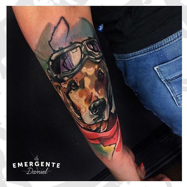 Los dejamos esta noche con este retrato de esta perrita piloto realizado por @danielacostaleon feliz noche marineros. #tatuajescolombia #tatuajesbogota #naturetattoo #tatuaje #tattoo #dogtattoo #colortattoo #love #laemergente #laemergentecol #lanuevaemergente