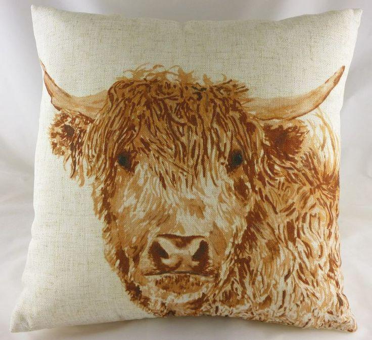 Angus highland bull cushion highland cow brown cushion