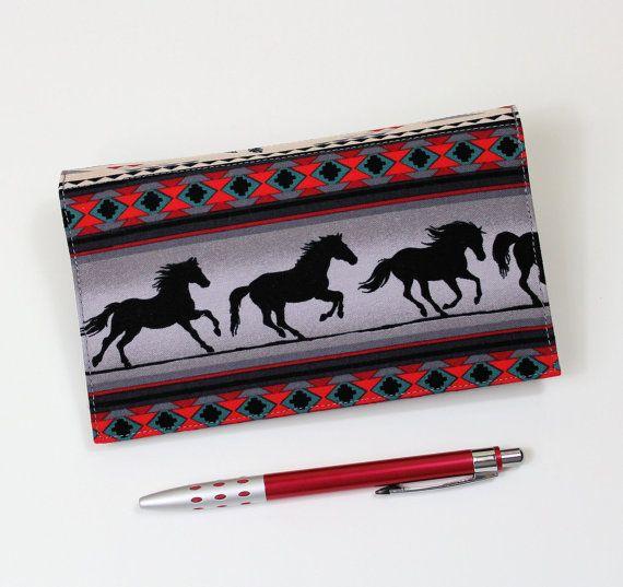 Horses Checkbook Cover for Duplicate Checks with Pen Holder on