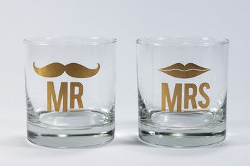 contemporary cups and glassware by Furbish Studio Mr and Mrs Cocktail Glass Set $18 so cute!