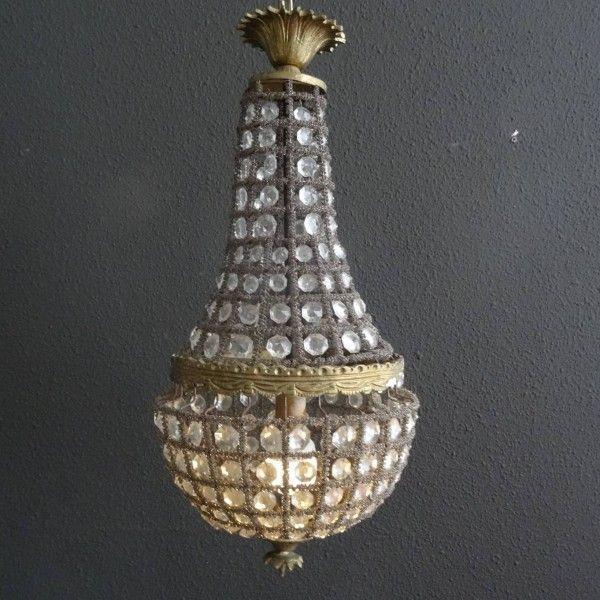 Bronzen kroonluchter met kristallen in zak-kroonluchter model