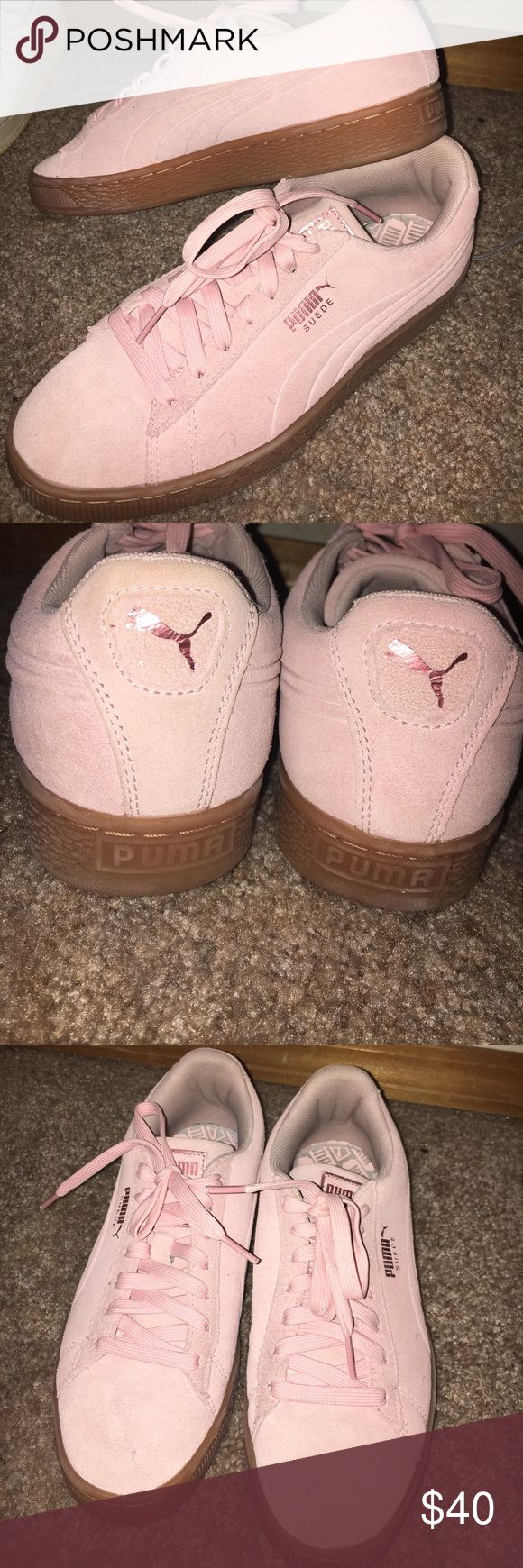 Pink pumas Pink pumas , worn one time Puma Shoes Sneakers