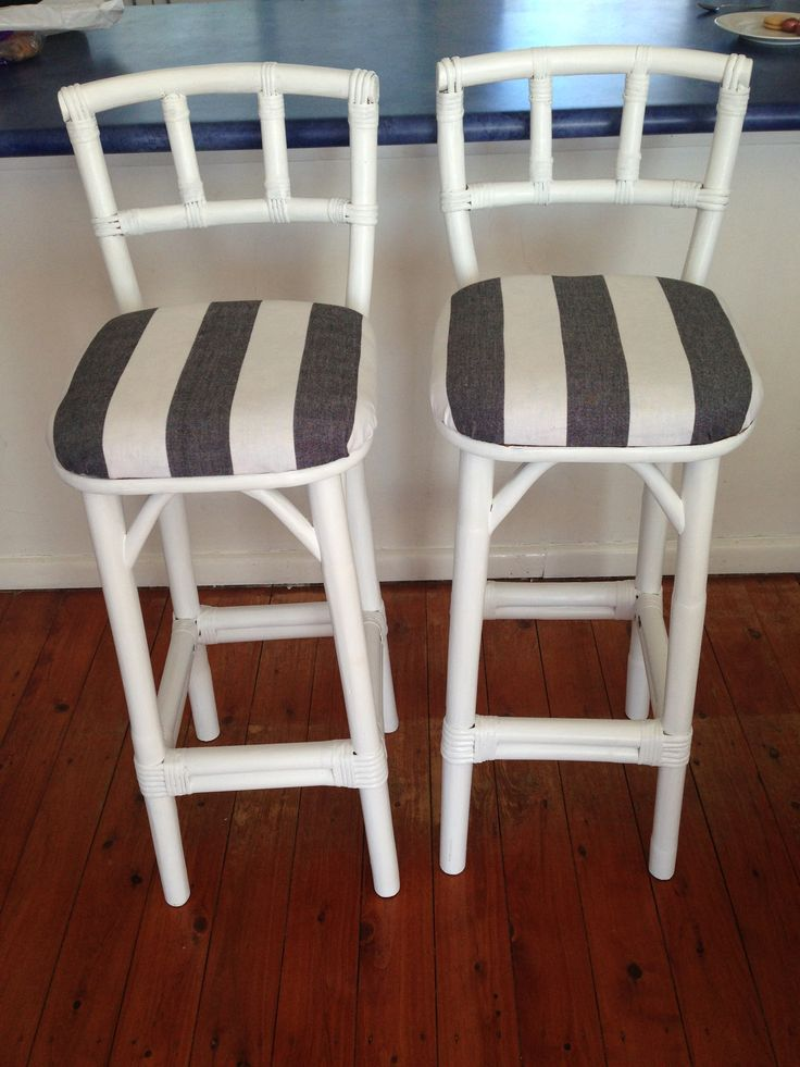 Reupholstered and refurbished, these classic coastal bar stools truly are a beach house feature, perfect for entertaining. Featuring a blue and white strip combination on the soft padded cushion, retro bar stools like these really are a quintessential beach house stand out piece.